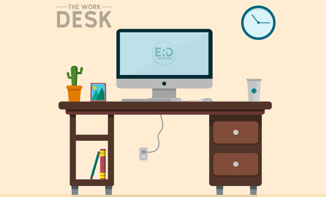 the work desk vector art