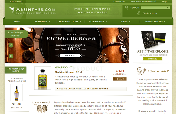 europes absinthe vendor online green website layout