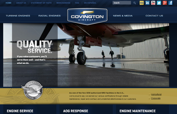 covington aircraft blue website layout design