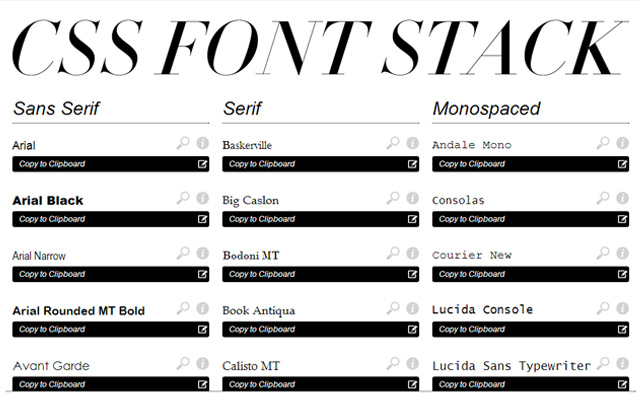 font css stack family fonts webapp