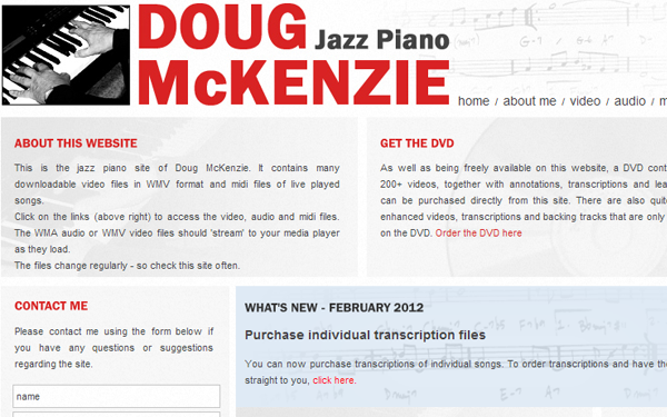 piano jazz player website layout designs inspiration