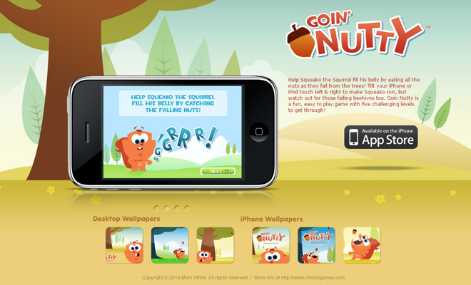 goin nutty iphone app landing page design