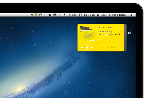 yellow mini music player osx interface