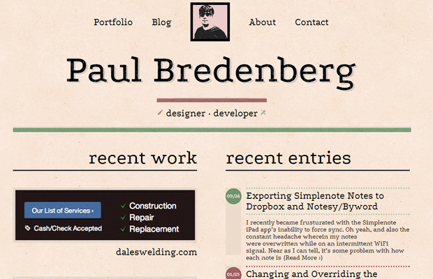 paul bredenberg homepage website layout design