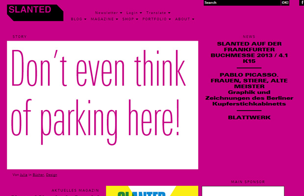 german de weblog slanted homepage layout inspiring typography