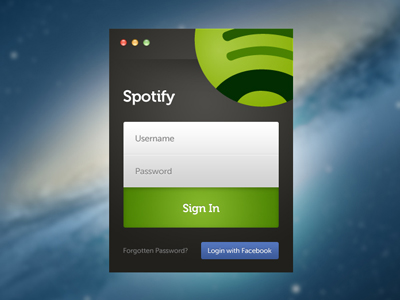 Spotify application interface login form freebie PSD