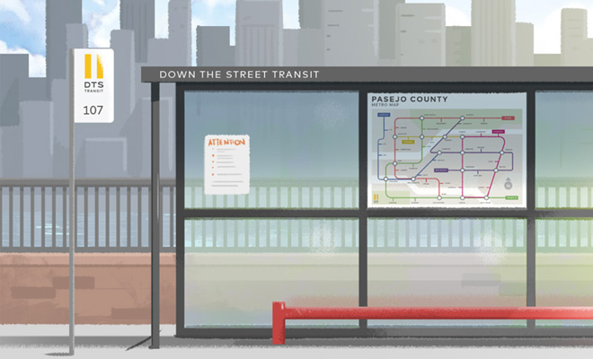 the bus stop illustration vector art
