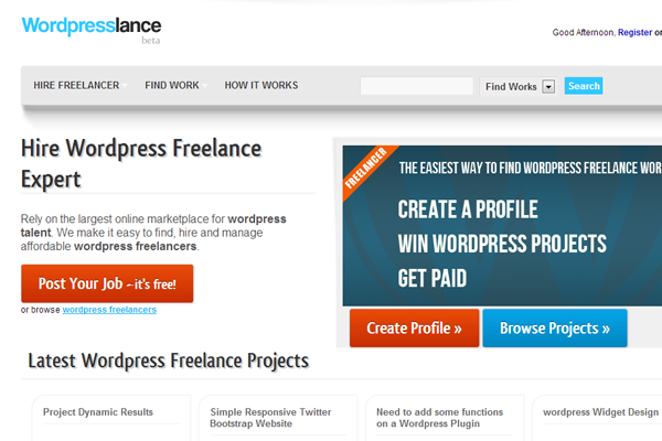 wordpress freelance job board website design