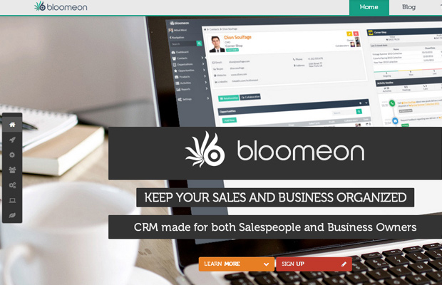 bloomeon crm website inspiring homepage background fullscreen