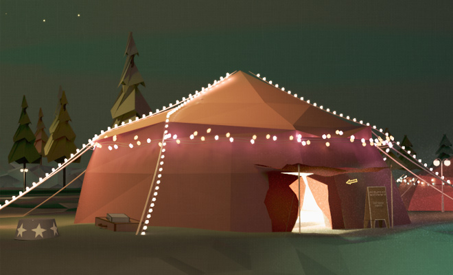 circus tent bright lights vector