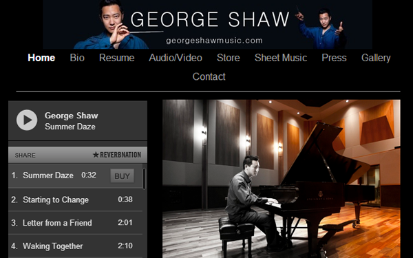 george shaw music website composer layout