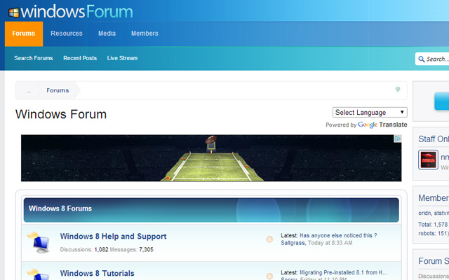 windows win7 forum design homepage layout