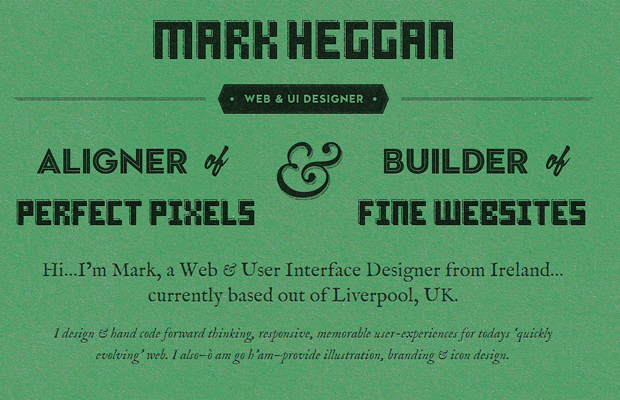 mark heggan website green layout design