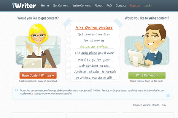 job board freelance writers interface inspiration