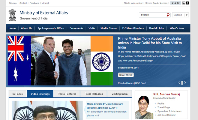 india ministry of external affairs