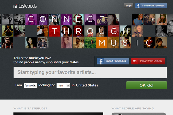 tastebuds fm social network homepage layout