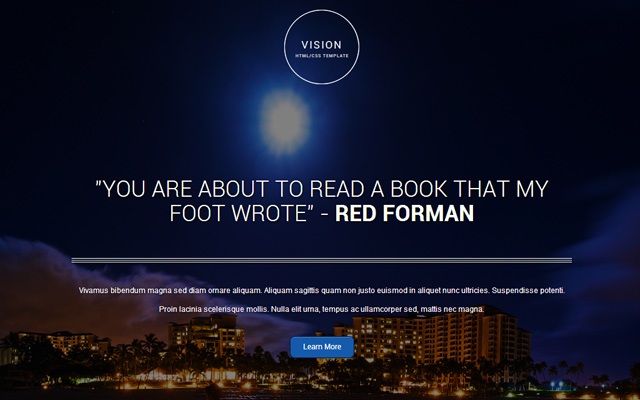 vision clean responsive homepage single page template