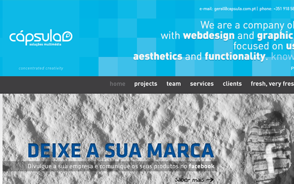 Digital web design agency studio Capsula layout