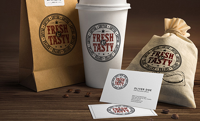 fresh tasty food containers print work logos