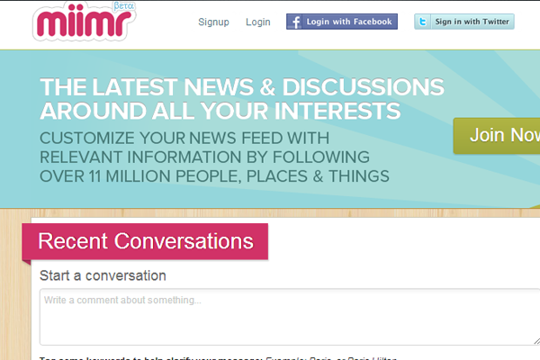 miimr social networking discussion website layout