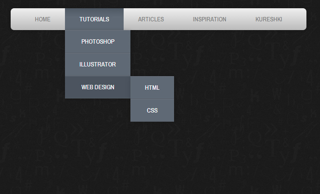 dark navigation horizontal menu dropdown effect css