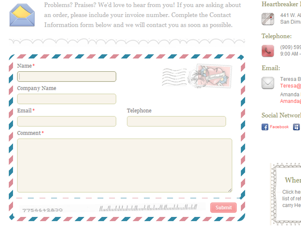 Heartbreaker Fashion contact form website design