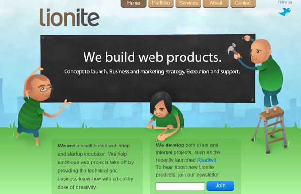 green lionite website layout studio design