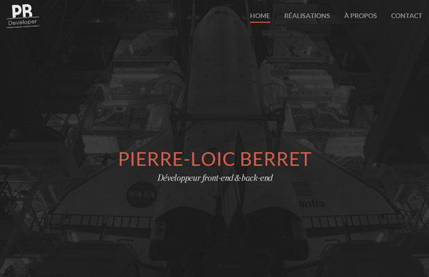 pierre loic berret developer website fullscreen background portfolio