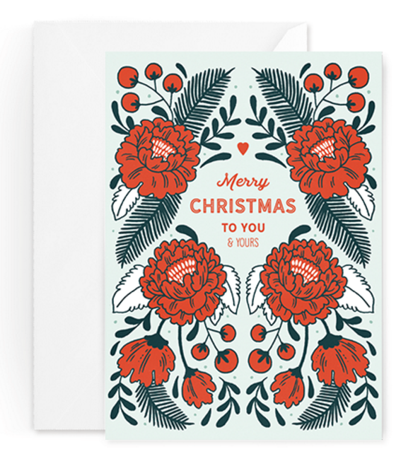 Handdrawn rose Xmas card