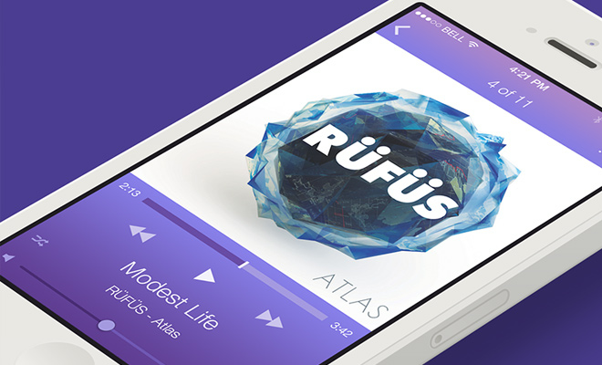 ios7 music player interface mobile application
