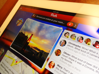 Path social networking mobile app for iOS