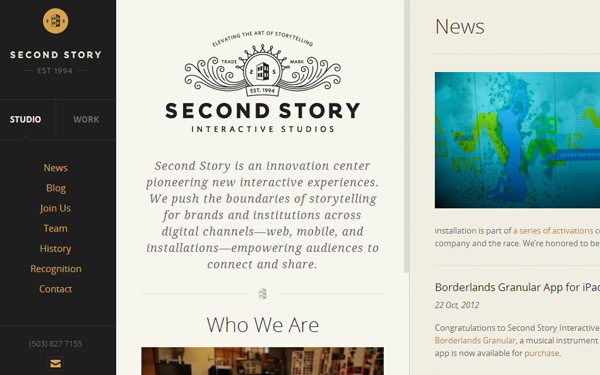 Second Story Interactive Design Studio Website