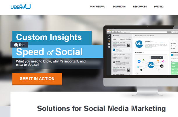 2012 2013 social media marketing startup ubervu homepage layout