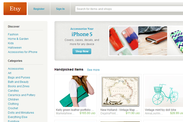 Etsy online web shop homepage layout 2012