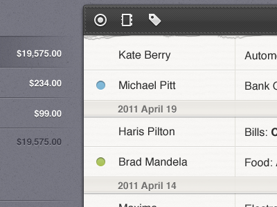iPad money app design