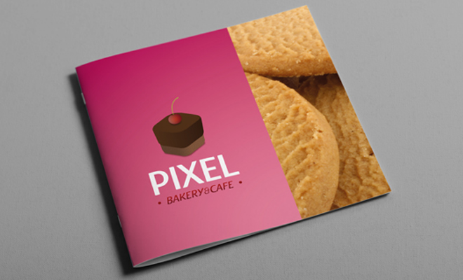 pixel bakery and cafe logo booklet print work