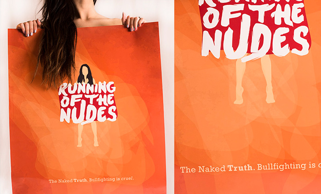 running of the nudes print poster design