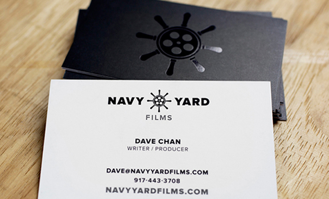 dark business cards branding navy yard production films
