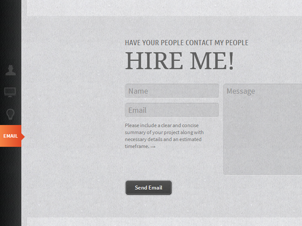 Daniel Hellier website contact form design