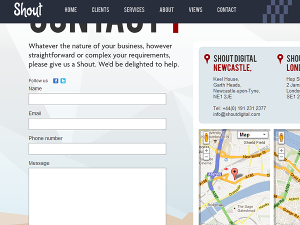 Shout Digital website contact form design