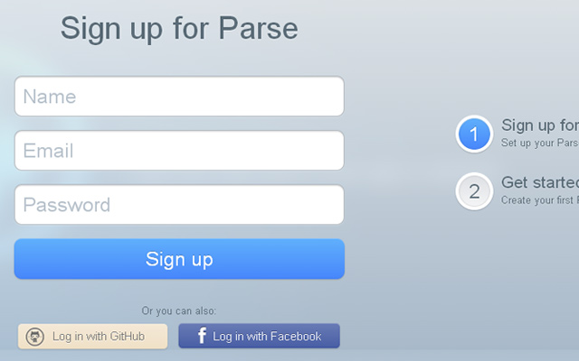 parse glossy clean login form example inspiration