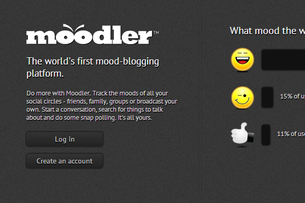 Moodler.in micro networking webapp website layout