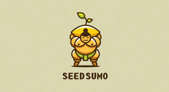 sumo wreslter logo seed branding dark orange