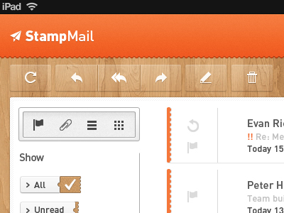 Stamp graphics iPad mail app