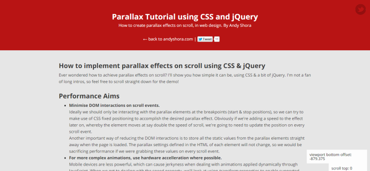 Parallax Tutorial using CSS and jQuery