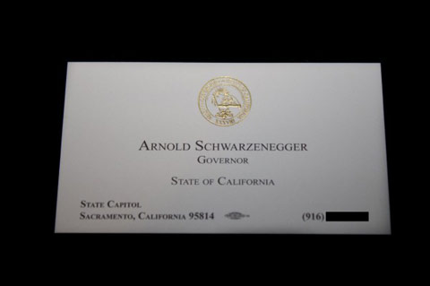 Top 10 famous business cards spyrestudios arnold schwarzeneggers card is professional and sleek which is a great option for those who want a sophisticated business card that will surely make a good colourmoves