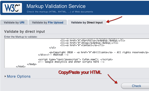 HTML validation