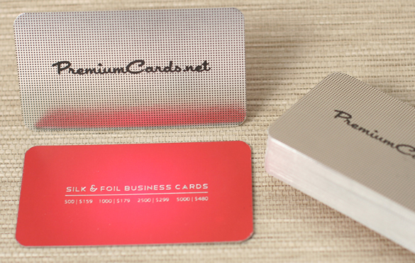 Silk Business Cards With Custom Silver Foil