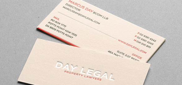 Day Legal Cotton Letterpress Business Card