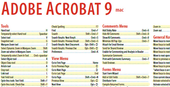 Adobe Acrobat 9 Shortcuts